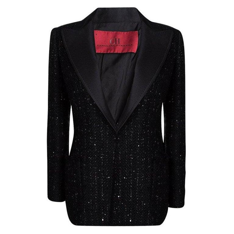 0842c18562e5e Carolina Herrera Black Sequin Embellished Tweed Blazer M For Sale at ...
