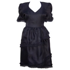 Carolina Herrera Black Silk Dress With Lace Details