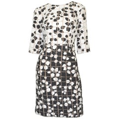 Carolina Herrera Black White Tweed Knit Floral Dress