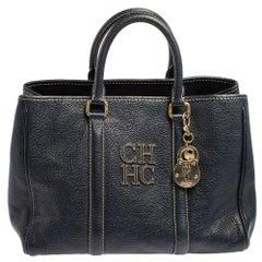 Carolina Herrera Blue Leather Andy Tote