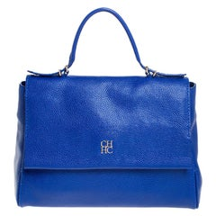 Carolina Herrera Blue Leather Minuetto Flap Top Handle Bag