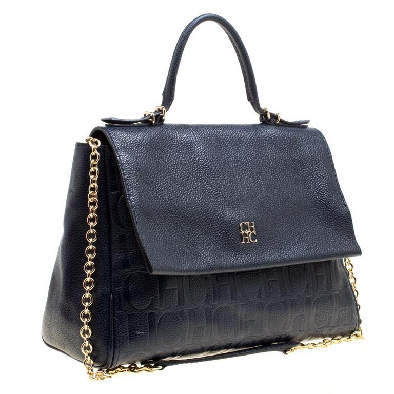 Black Carolina Herrera Blue Leather Minuetto Top Handle Flap Shoulder Bag  For Sale 2c6a95dc61a13