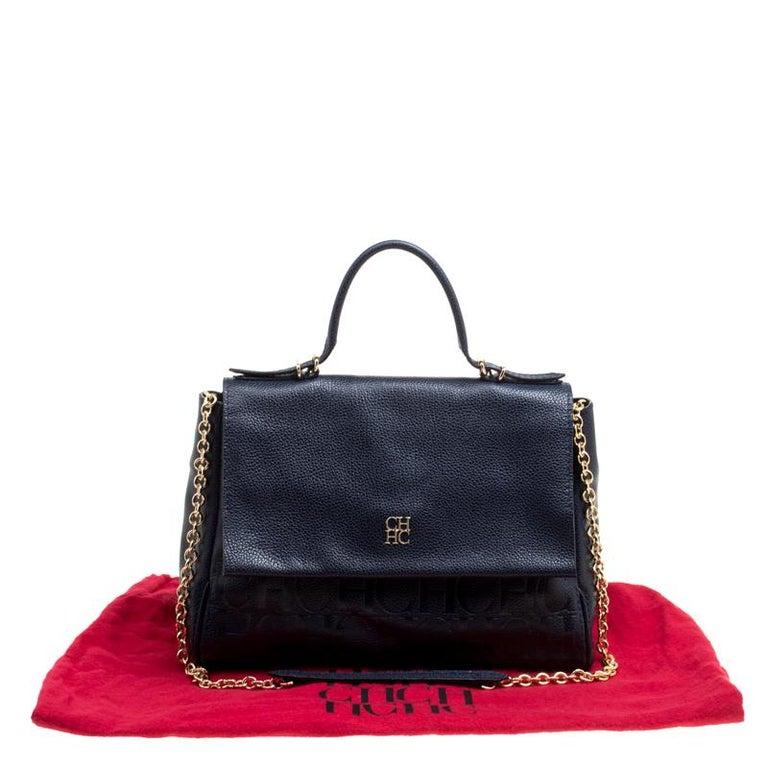 Carolina Herrera Blue Leather Minuetto Top Handle Flap Shoulder Bag For  Sale 4 8e237c218488c
