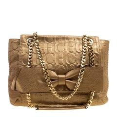 Carolina Herrera Bronze Monogram Leather Audrey Shoulder Bag