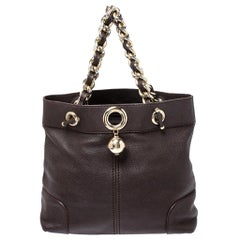 Carolina Herrera Brown Leather Chain Handle Tote Bag