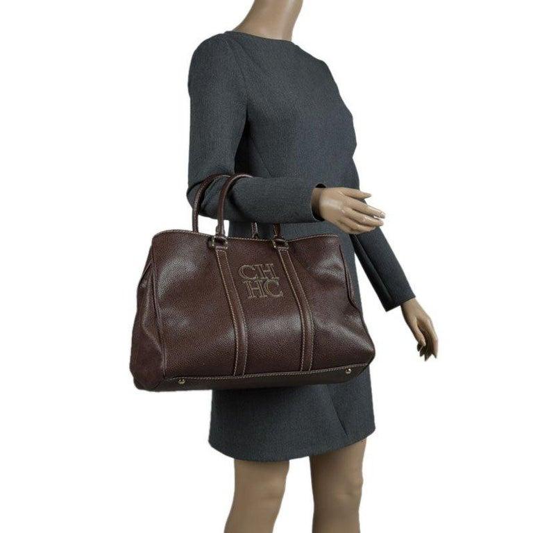 Black Carolina Herrera Brown Leather Matteo Tote For Sale