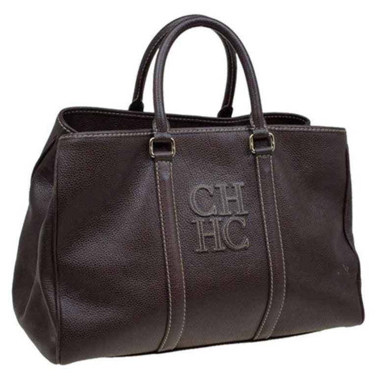 Carolina Herrera Brown Leather Matteo Tote In Good Condition For Sale In Dubai, AE