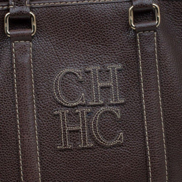 Women's Carolina Herrera Brown Leather Matteo Tote For Sale