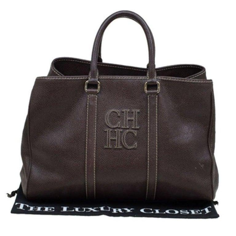 Carolina Herrera Brown Leather Matteo Tote For Sale 4