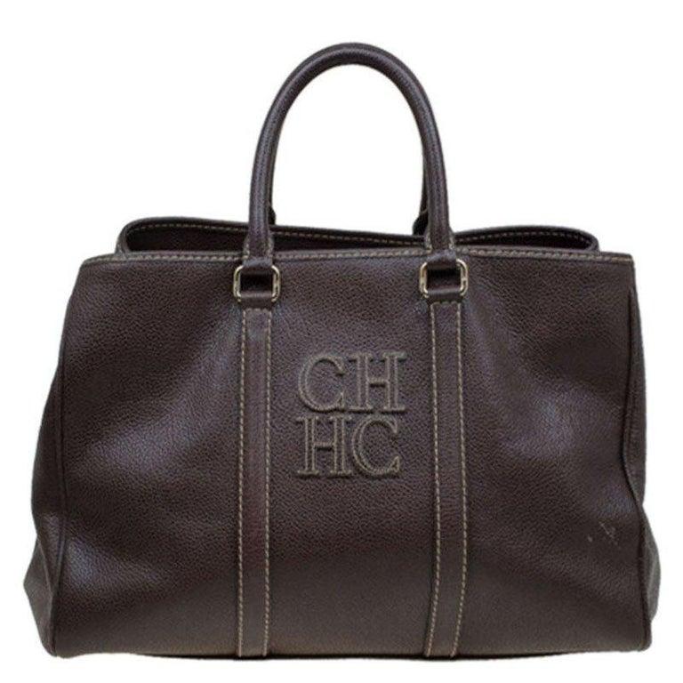 Carolina Herrera Brown Leather Matteo Tote For Sale