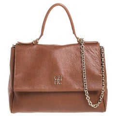 Carolina Herrera Brown Leather Minueto Flap Bag