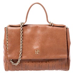 Carolina Herrera Brown Leather Minuetto Flap top Handle Bag