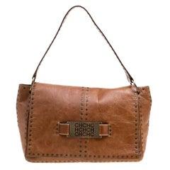 Carolina Herrera Brown Leather Studded Shoulder Bag