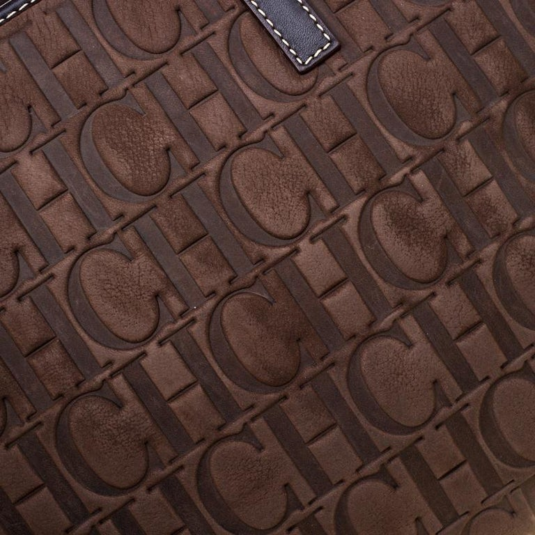 Carolina Herrera Brown Monogram Embossed Nubuck Shopper Tote 2