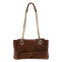 Carolina Herrera Brown Monogram Leather Audrey Shoulder Bag