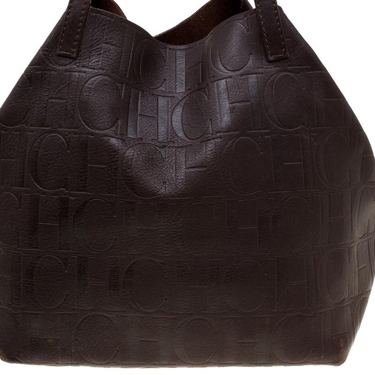 Carolina Herrera Brown Monogram Leather Matryoshka Tote For Sale At 1stdibs