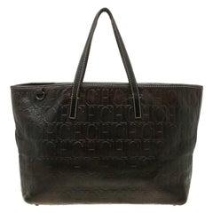 Carolina Herrera Brown Monogram Leather Shopper Tote