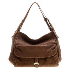 Carolina Herrera Brown Monogram Leather Shoulder Bag