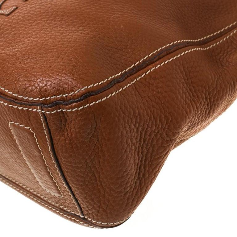 Carolina Herrera Brown Pebbled Leather Messenger Bag For Sale 6