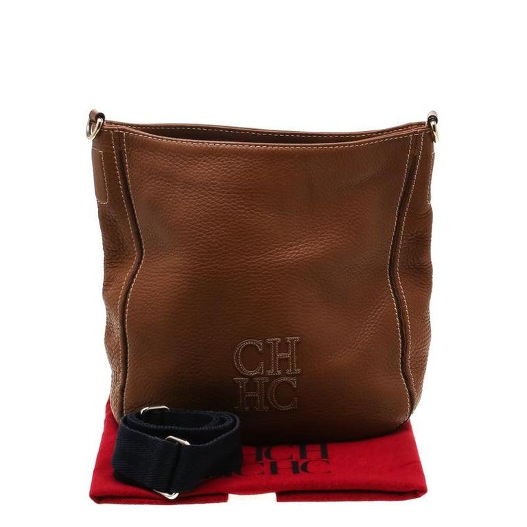 Carolina Herrera Brown Pebbled Leather Messenger Bag For Sale 7