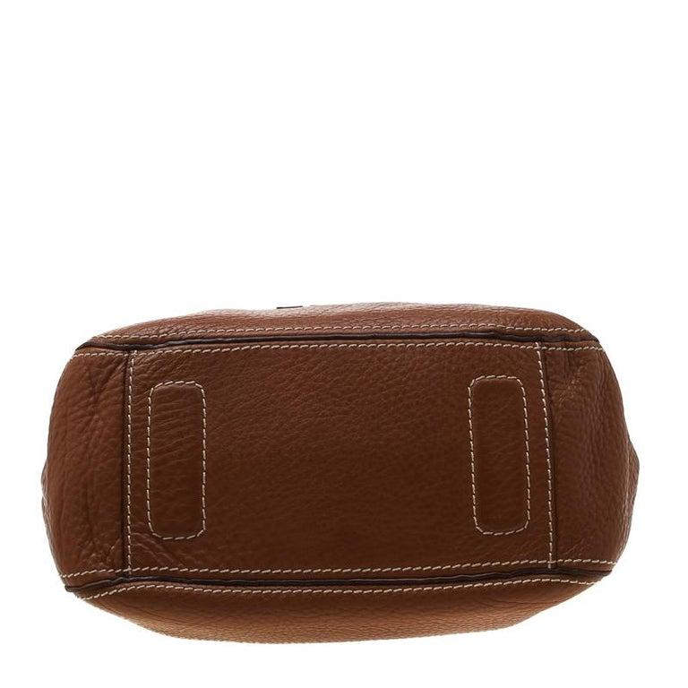 Carolina Herrera Brown Pebbled Leather Messenger Bag For Sale 1