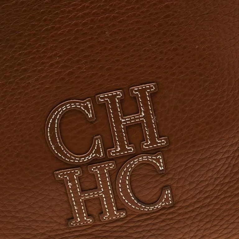 Carolina Herrera Brown Pebbled Leather Messenger Bag For Sale 4