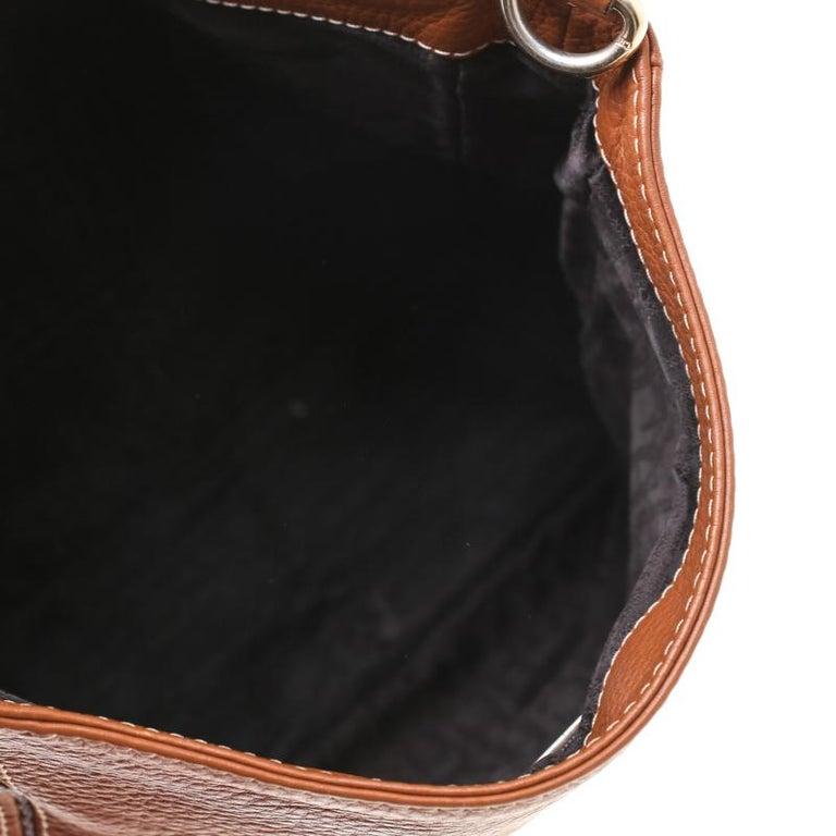 Carolina Herrera Brown Pebbled Leather Messenger Bag For Sale 5