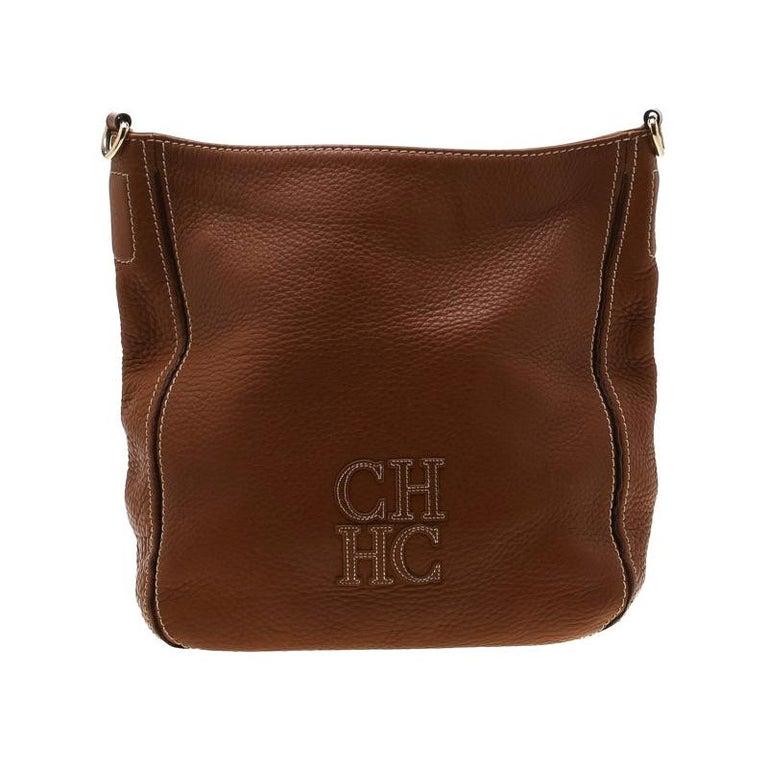 Carolina Herrera Brown Pebbled Leather Messenger Bag For Sale
