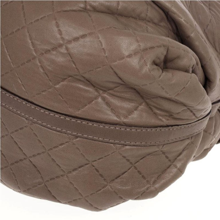Carolina Herrera Brown Quilted Convertible Tote For Sale 6