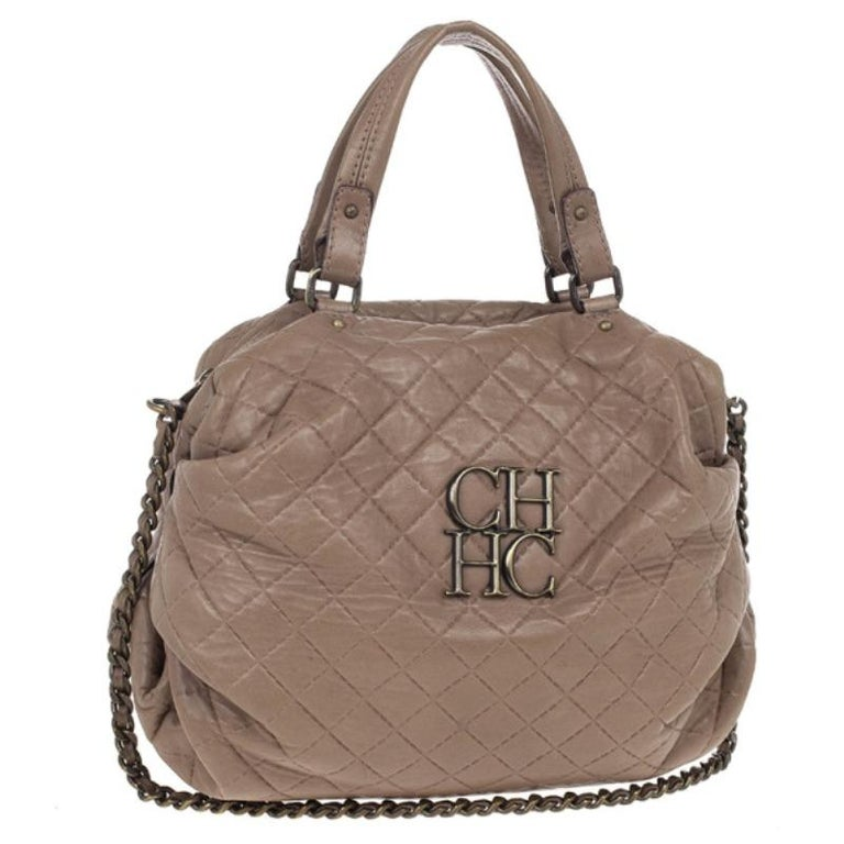 Women's Carolina Herrera Brown Quilted Convertible Tote For Sale