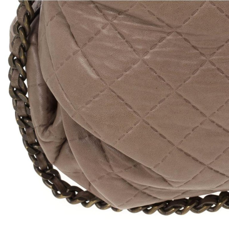 Carolina Herrera Brown Quilted Convertible Tote For Sale 3