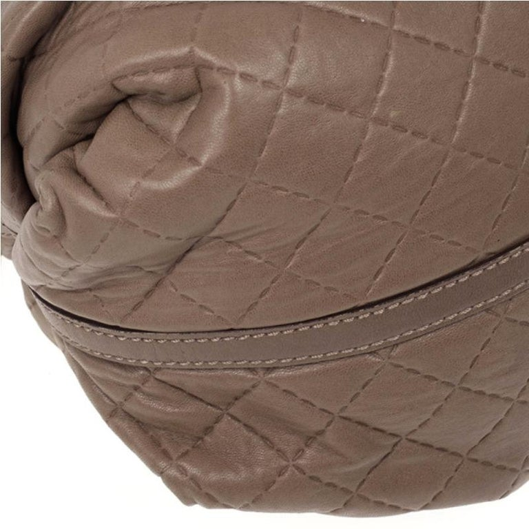 Carolina Herrera Brown Quilted Convertible Tote For Sale 4