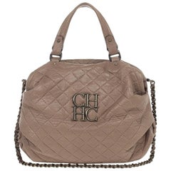 Carolina Herrera Brown Quilted Convertible Tote