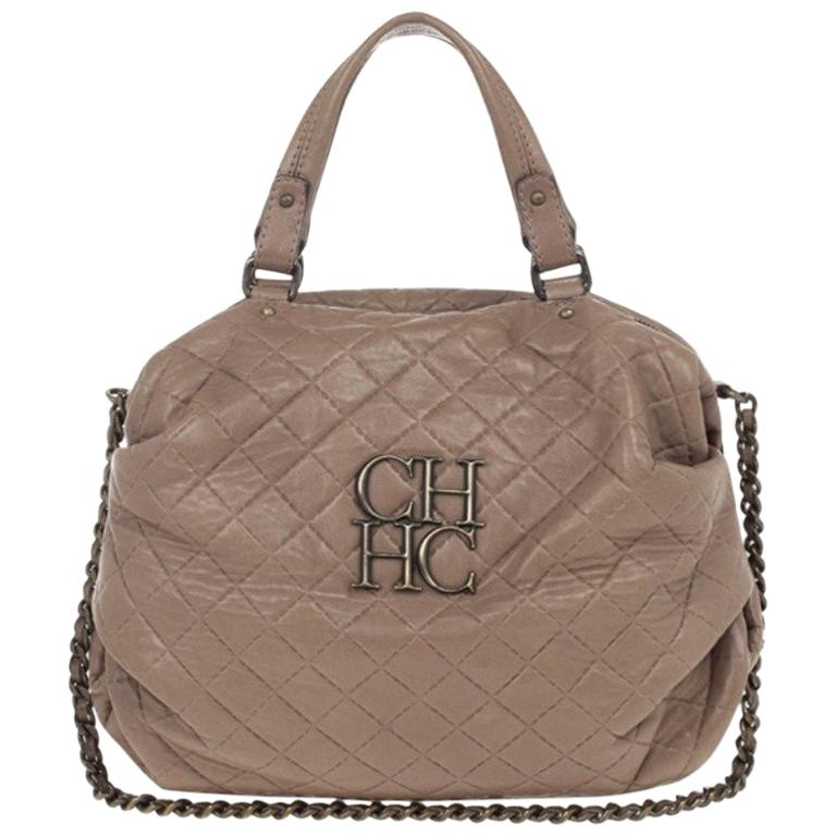 Carolina Herrera Brown Quilted Convertible Tote For Sale