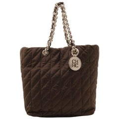 Carolina Herrera Brown Quilted Nylon Tote