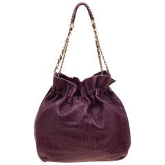 Carolina Herrera Burgandy Embossed Leather Bow Bucket Shoulder Bag
