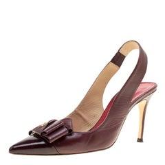 Carolina Herrera Burgundy Leather Bow Detail Pointed Toe Slingback Sandals Size