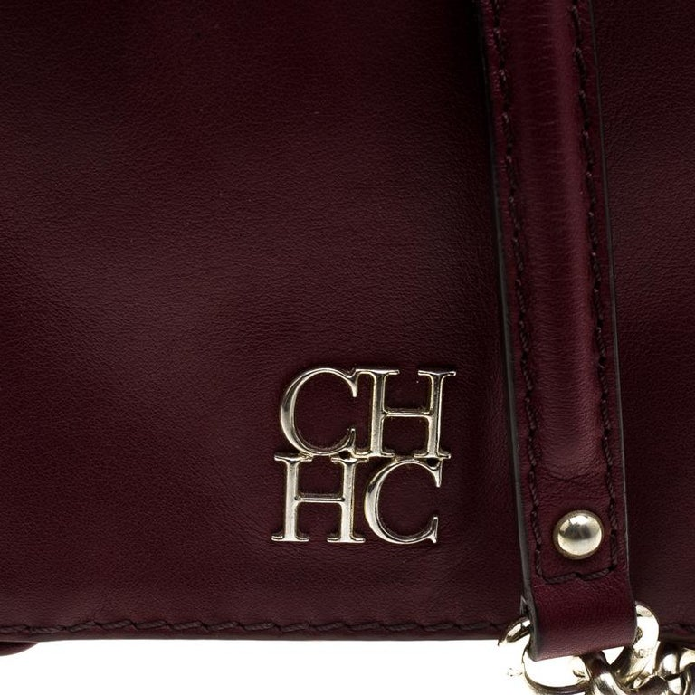 Women's Carolina Herrera Burgundy Leather New Baltazar Crossbody Bag For Sale