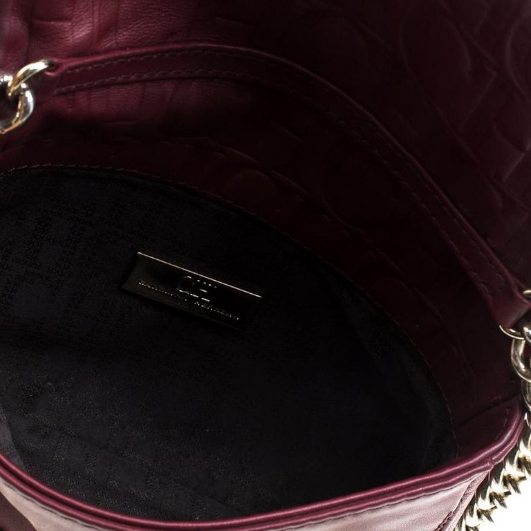 Carolina Herrera Burgundy Leather New Baltazar Crossbody Bag For Sale 2