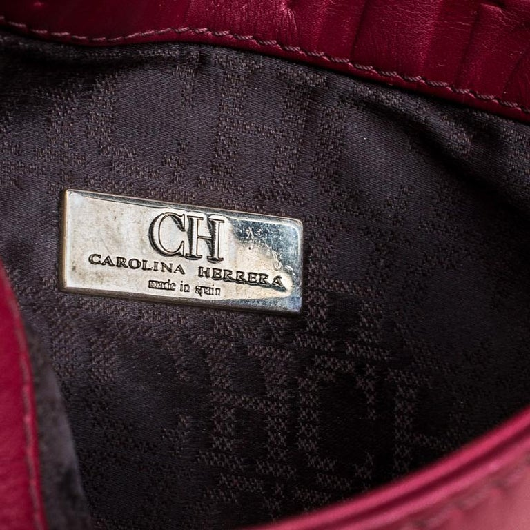Carolina Herrera Burgundy Leather New Baltazar Crossbody Bag For Sale 3