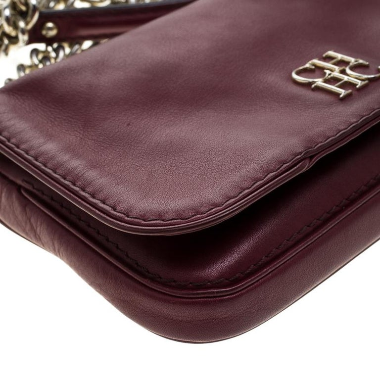 Carolina Herrera Burgundy Leather New Baltazar Crossbody Bag For Sale 4