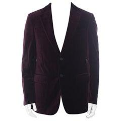 Carolina Herrera Burgundy Velvet Classic Fit Blazer L