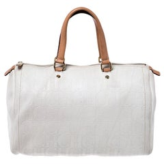 Carolina Herrera Cream/Tan Monogram Leather Large Andy Boston Bag