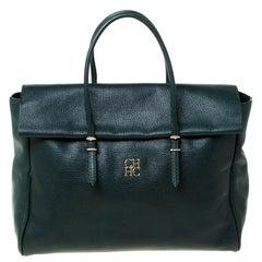 Carolina Herrera Dark Green Leather Tempo Collection Adagio Tote