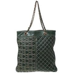 Carolina Herrera Dark Green Quilted Signature Leather Tote