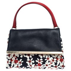 Carolina Herrera Floral Print Nylon and Leather Camelot Top Handle Bag