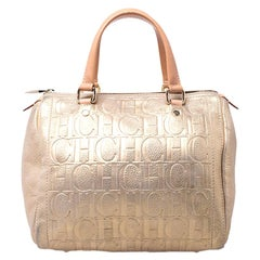 Carolina Herrera Gold Metallic Monogram Leather Andy Boston Bag