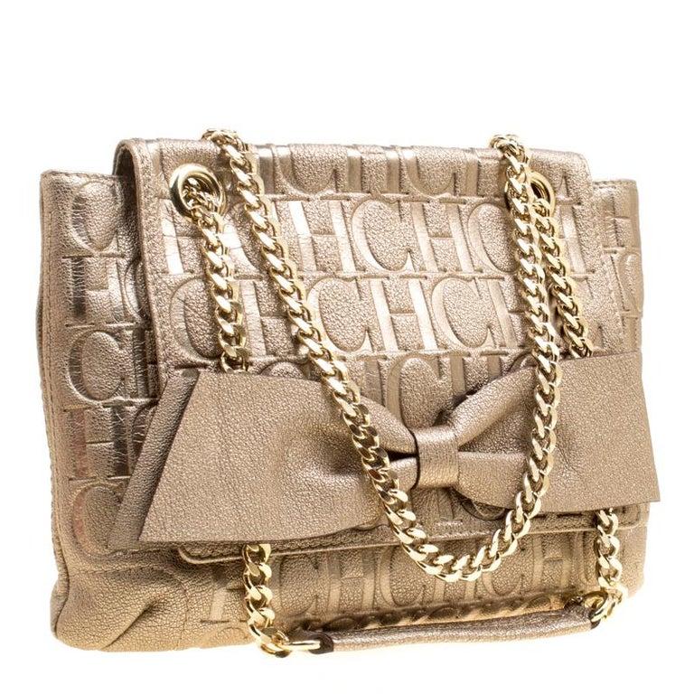 adf862874948 Carolina Herrera Gold Monogram Leather Audrey Shoulder Bag In Excellent  Condition For Sale In Dubai