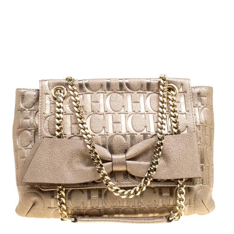 5ff94d194e3a Carolina Herrera Gold Monogram Leather Audrey Shoulder Bag at 1stdibs