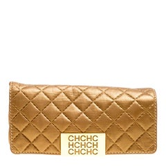 Carolina Herrera Gold Quilted Leather Clutch
